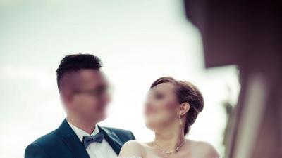 Sprzedam suknię ślubną w odcieniu błękitu – rozmiar 40/42 – Białystok