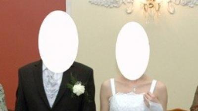 Subtelna biała suknia ślubna