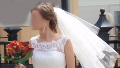 Subtelna Suknia Ślubna z agatu z koronką rozmiar 34-36