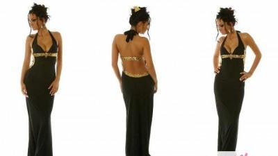 Sukienka czarna długa z cekinami - nowa, nieużywana -- Sprzedam