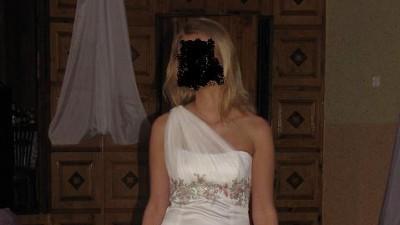 Sukienka (na jedno ramię)  na Wesele, Poprawiny, ecri  rozm. 38
