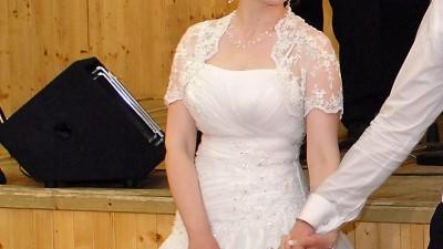 suknia + bolerko + kamizelka męska