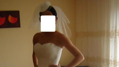 Suknia MIA SOLANO M1099 srebrna biel rozmiar 38