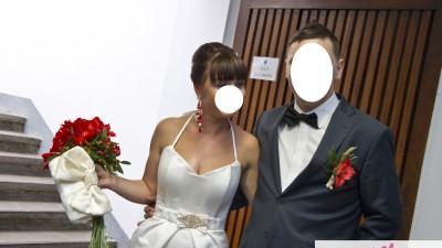 Suknia na ślub cywilny krótka w kolorze ecri