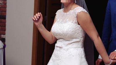 Suknia ślubna AGNES- model 11641, rozm 38/40, + dodatki, biała
