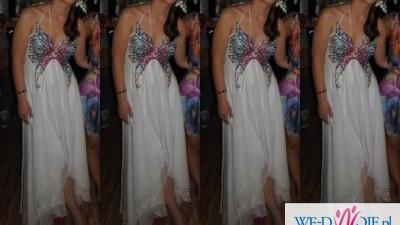 Suknia ślubna biała asymetryczna motyl kolorowy
