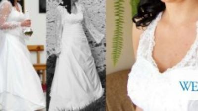 suknia ślubna biała zapinana na szyi 40/42