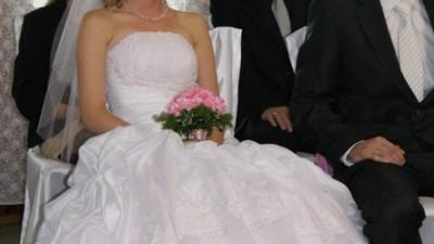 Suknia ślubna biel - róż rozm. 36