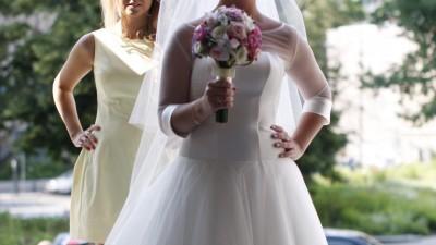 Suknia ślubna + bolerko + pasek satyna tiul