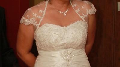 Suknia ślubna, bolerko, welon