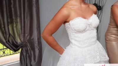 Suknia ślubna cekiny, perełki, ręcznie wyszywana 36/38