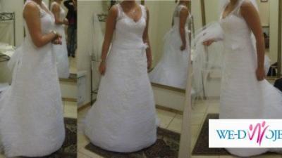Suknia ślubna CLASSA C418-NAJPIĘKNIEJSZA!!!-biel 38/40 Będzin/DG