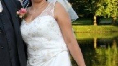 Suknia ślubna dla niewysokiej szyta wg własnego projektu