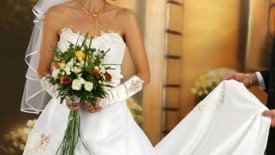 Suknia ślubna dwuczęściowa z trenem