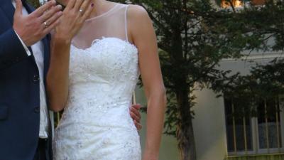 suknia ślubna ecru syrena a'la Annais Bridal Ambrosia 1402