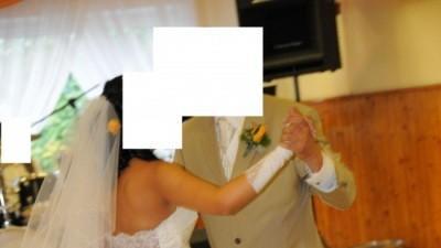 suknia ślubna ecru tanio + welon, koronkowe bolerko