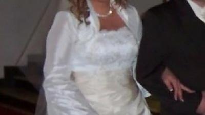 Suknia ślubna ecru z cappucino!