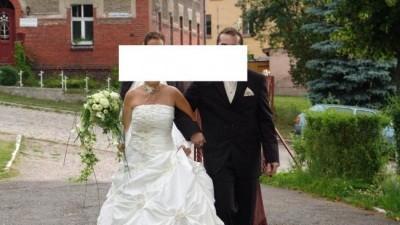 SUKNIA ŚLUBNA FIRMY MS MODA ROZMIAR 38 JASNY ECRU