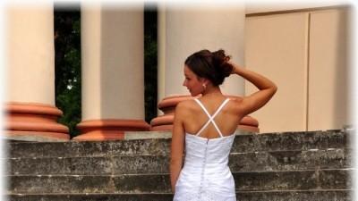Suknia Ślubna IMOGENE biała tren falbany 34/36 POZNAŃ