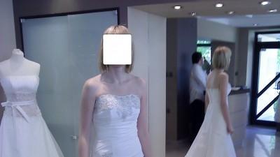 Suknia ślubna kolor ecru firmy Ms Moda model Adria, rozmiar 38