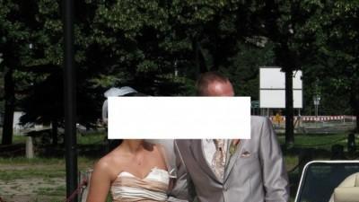 suknia ślubna kolor ecru i cappucino