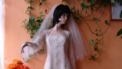 suknia slubna koronkowa ecru