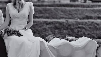 Suknia ślubna lekka zmysłowa z muślinu