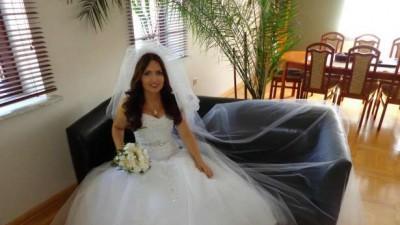 Suknia ślubna, litera A, śnieznobiała 36-38, 2welony gratis