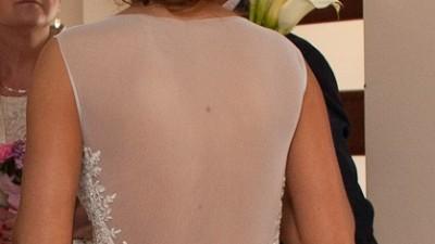 Suknia ślubna odkryte nogi, plecy