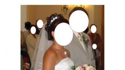 suknia ślubna r.38 biała -srebrna koronka biłgoraj