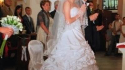 suknia ślubna roz 38 gorset, spodnica z trenem i bolerko