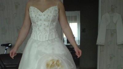 Suknia Ślubna roz. 40-42 jasna ecru-złota