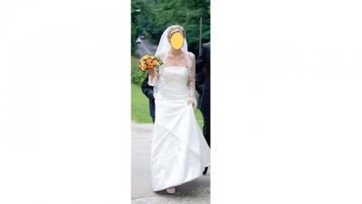 Suknia ślubna rozm 38 prosta z piękną koronką i kamieniami