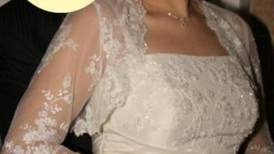 suknia ślubna - tafta ecru