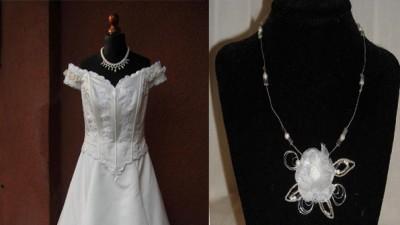 Suknia ślubna używana tania jednoczęściowa 44