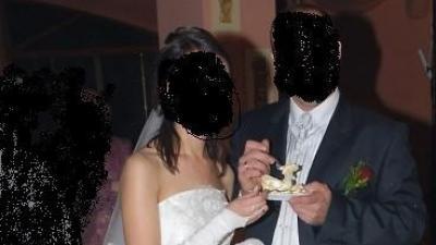 suknia ślubna w kolorze e-cru, gratis rękwiczki i welon