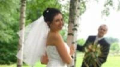 Suknia ślubna w kolorze ecru, dwuczęsciowa