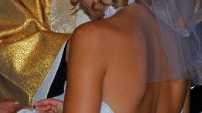 Suknia ślubna w kształcie rybki