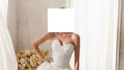 Suknia ślubna w rozm. 34/36 zdobiona kryształkami Swarovski