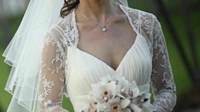 suknia ślubna wraz z bolerkiem i welonem