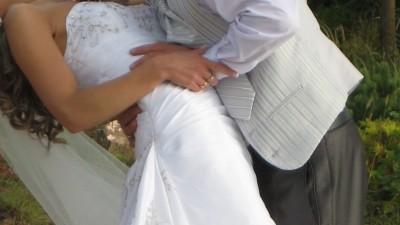suknia ślubna z podpinanym trenem z USA rozmiar 36/38