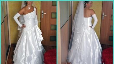 suknia ślubna z ramiączkiem ukośnym