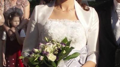 suknia ślubna z trenem biała
