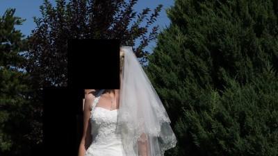 Suknia ślubna z trenem + welon, rozm. 38-40, Sincerity model 3542