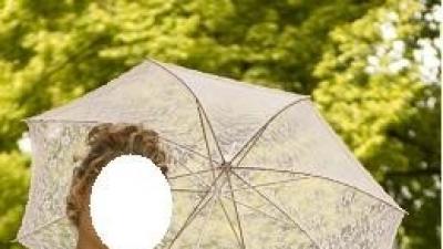 Suknia toffi + bolerko i parasolka