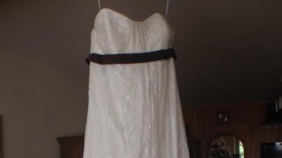 Suknia w stylu empire, kolor ecru, koronka