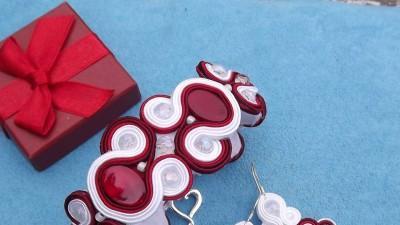 Sutasz kolczyki bransoletka biel czerwień bordo