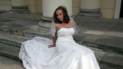 tania suknia ślubna ecru Sarah Bride 574 + etola