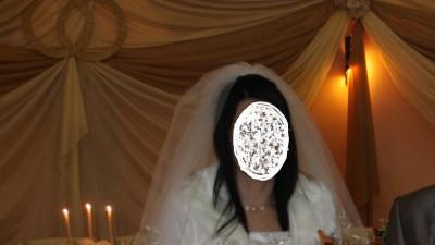 Tanio śliczna jedwabna suknia ślubna