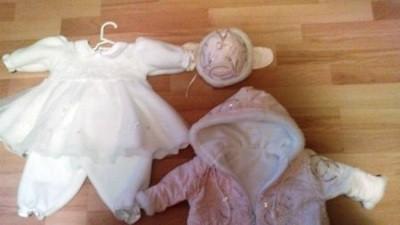ubranko do chrztu r. 68 dla dziewczynki zima, wiosna